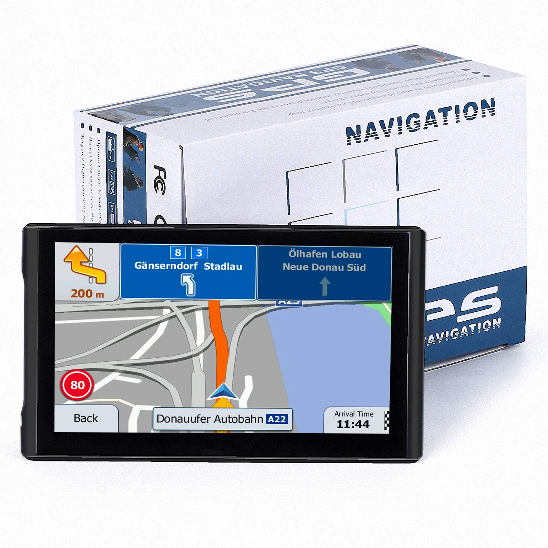 Black NAVRUF GPS Navigation for car Spoken Turn to-Turn Traffic Alert 7 inch Built-in 8GB GPS Navigator with Sun Shade /&Lifetime Map Updates