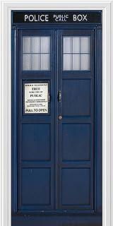 WALL STICKER POLICE BOX BLUE UK TARDIS FANTASY DOOR ART CANVAS PRINT AK2792  sc 1 st  Amazon UK & Doctor Who TARDIS Door Cling: Amazon.co.uk: Electronics
