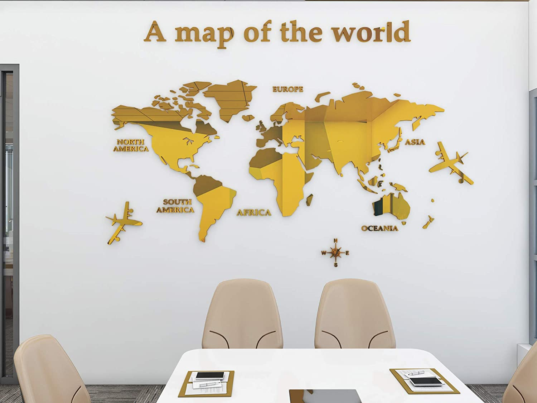 Mapa Del Mundo 3D Cristal Tridimensional Pegatinas De Pared Oficina Estudio Sala De Estar Sof/á Fondo Tatuajes de Pared Decoraci/ón de Pared M-120 * 60cm, Azul