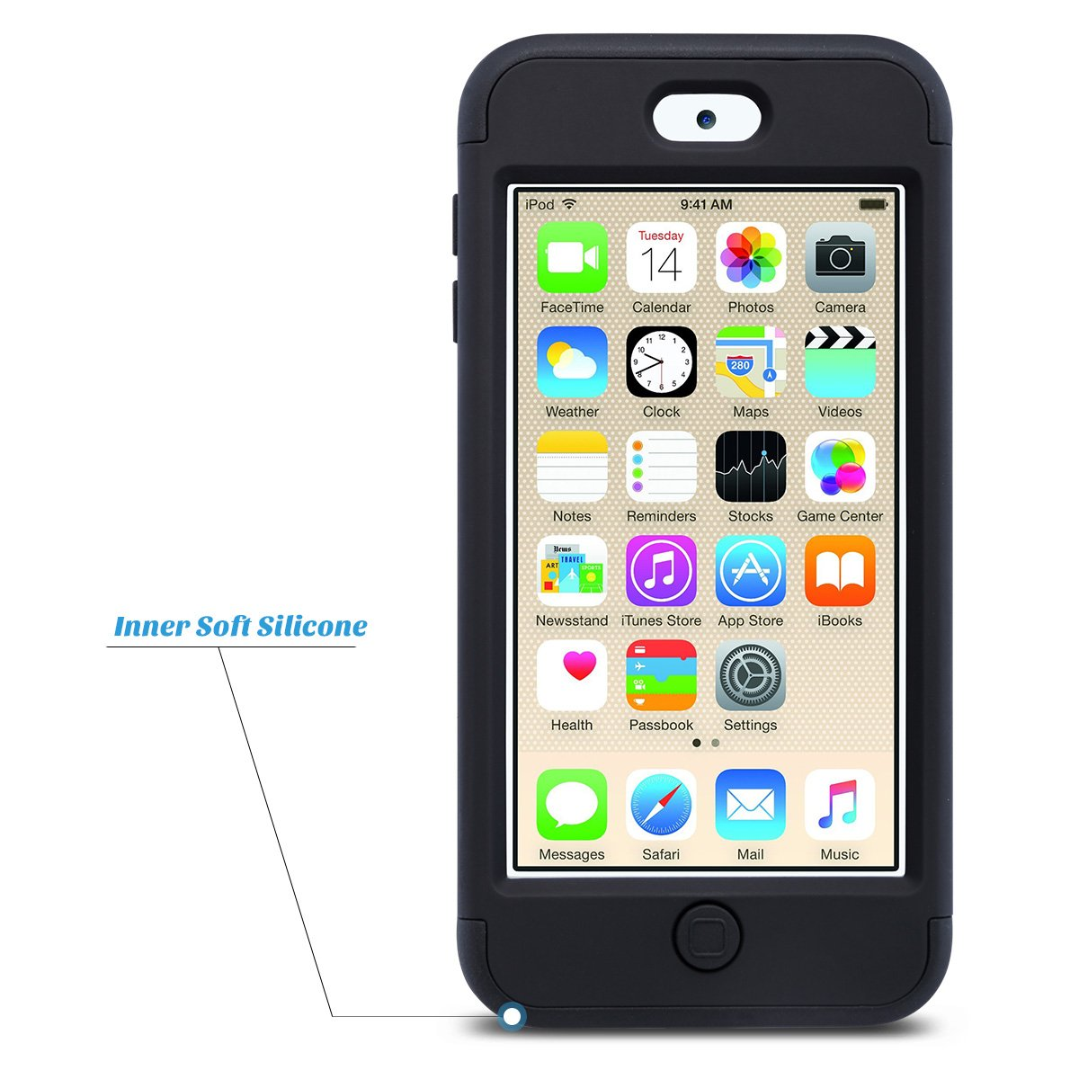 Cover per iPod Touch 6 5 Case ULAK Grigio + Verde 5 Generation iPod Touch 6 Custodia ibrida a protezione integrale con parte esterna in 3 strati di morbido silicone e interno rigido per Apple iPod Touch 6