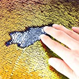TRLYC Gold and Silver 4ft by 6.5ft Sequin Curtain Two Color Changed Sequin Drapes