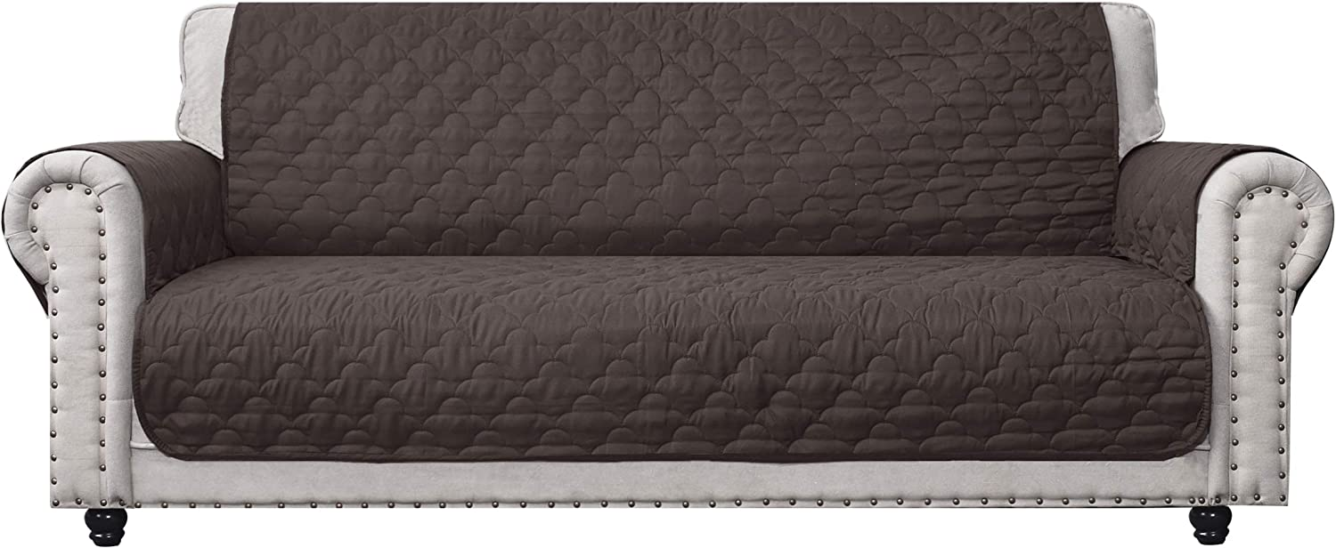 CHHKON 100% Waterproof Sofa Cover with Side Pockets Quilted Furniture Protector Sofa Slipcover for Children, Pets for Leather Couch (Chocolate, 78'')