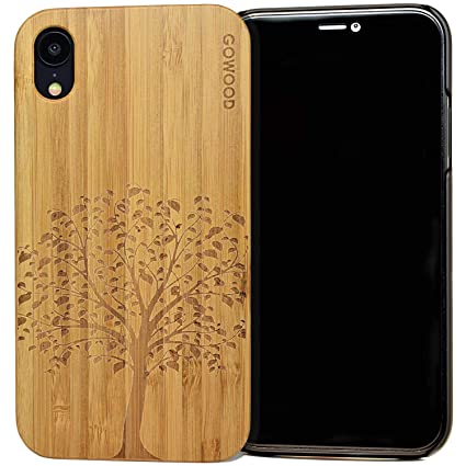 reputable site 8d0ae d841a iPhone XR Wood Case | Real Bamboo Tree Engraved Wooden Backplate with  Polycarbonate Protective Bumper and Shock Absorbing Rubber Coating for  Optimal ...