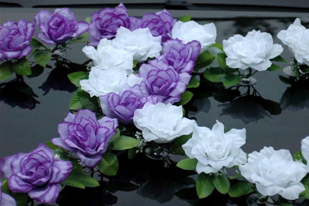 Auto gioielli doppio cuore gioielli coppia di sposi Rose Decorazione Matrimonio auto car auto decorazione Wedding Ratan Blau//Reinwei/ß