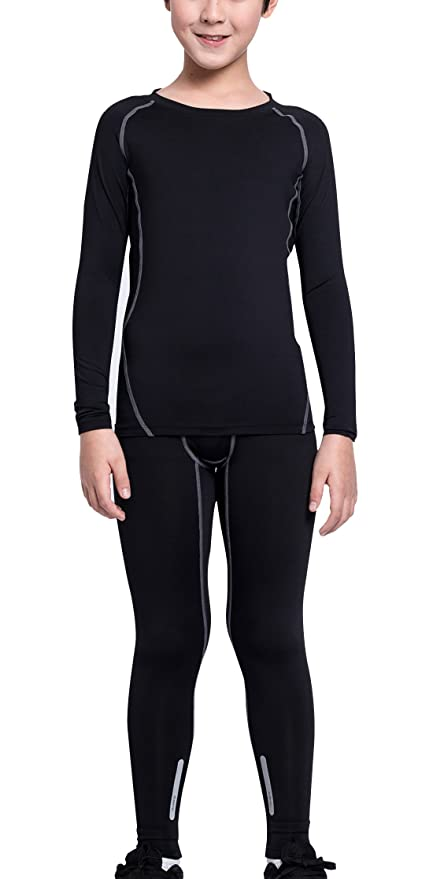 18e55263fb2 EU Boys Thermal Underwear Base Layer Sets Hockey Stretchy Leggings Moisture  Wicking Compression Long Sleeve Shirts