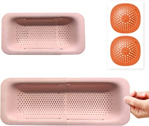 Collapsible Colander Food Grade Material,Pink Strainer for Cleaning and Drying Fruits, Vegetables, Pasta and Kitchen Supplies (Length 14.3-19.4 inches) with 2-Sink Mats (Length 5.7 inches)