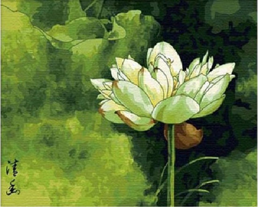 Diy oil painting, paint by number kits- Quiet Lotus, 16 x 20 cm.