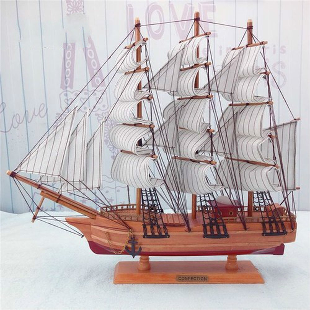 BWLZSP 1` PCS Office solid wood handmade craft boat smooth sailing model ornaments AP5181748