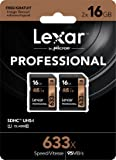 Lexar Professional 633x 16GB SDHC UHS-I/U1 Card with Image Rescue 5 Software - LSD16GCB1NL6332 (2 Pack)