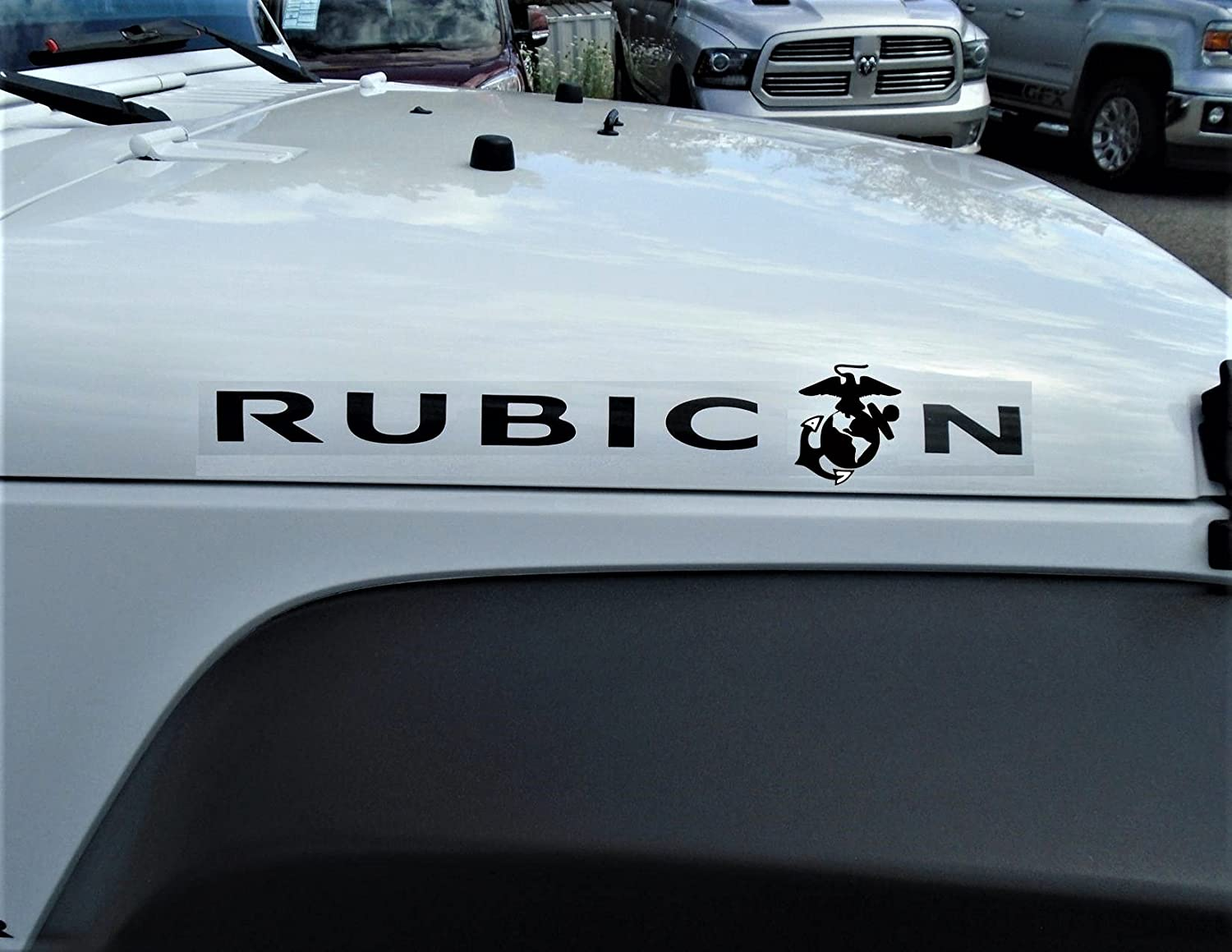 Usmc rubicon hood decal black 20 25x2 75 pair vinyl rubicon jeep decal sticker jeep hood decal rubicon oem sticker wrangler sahara