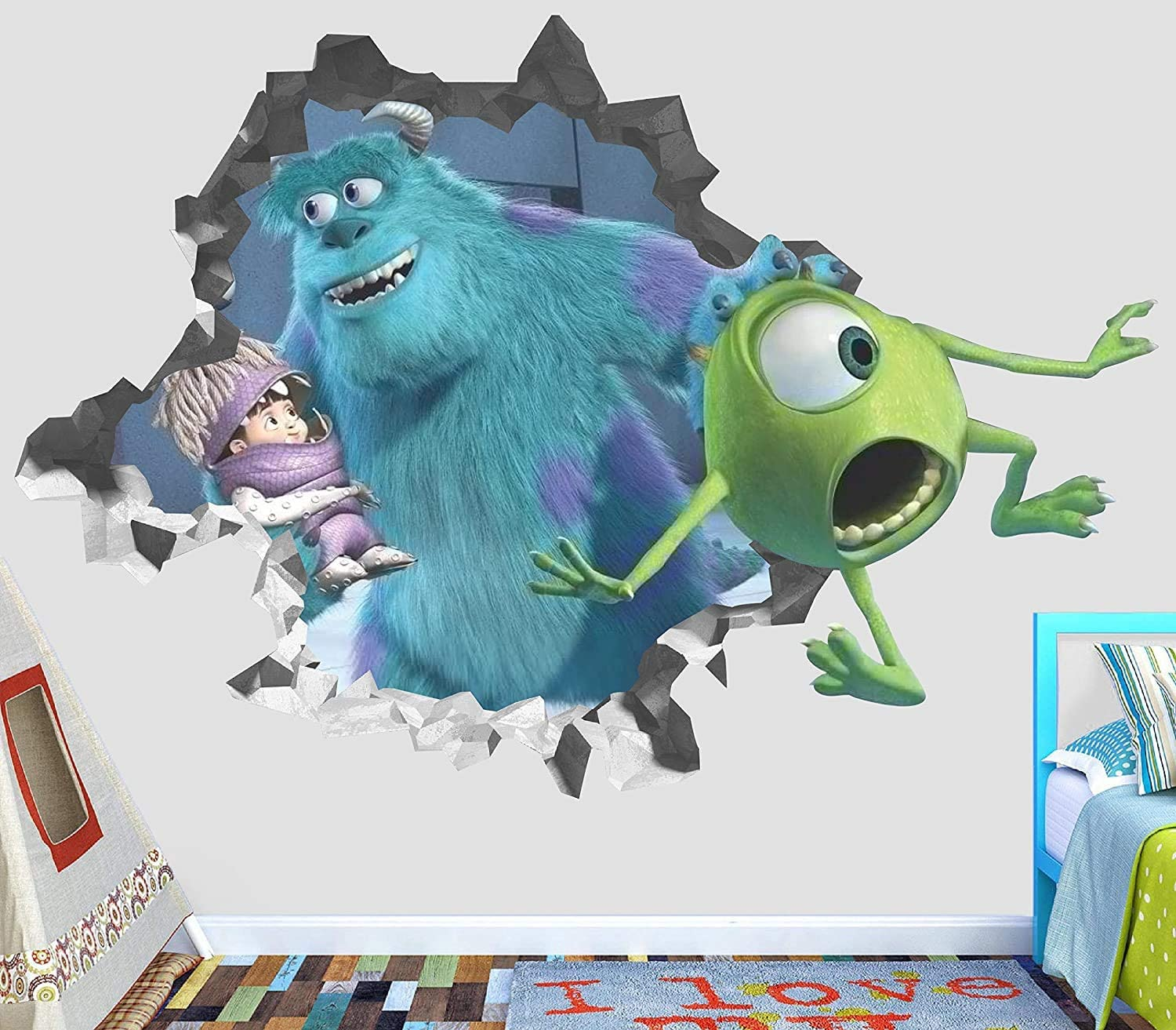 "Monster Inc Mike Wazowski James P Wall Decal Smashed 3D Sticker Vinyl Decor Mural Movie Kids - Broken Wall - 3D Designs - OP411 (Small (Wide 22"" x 16"" Height))"