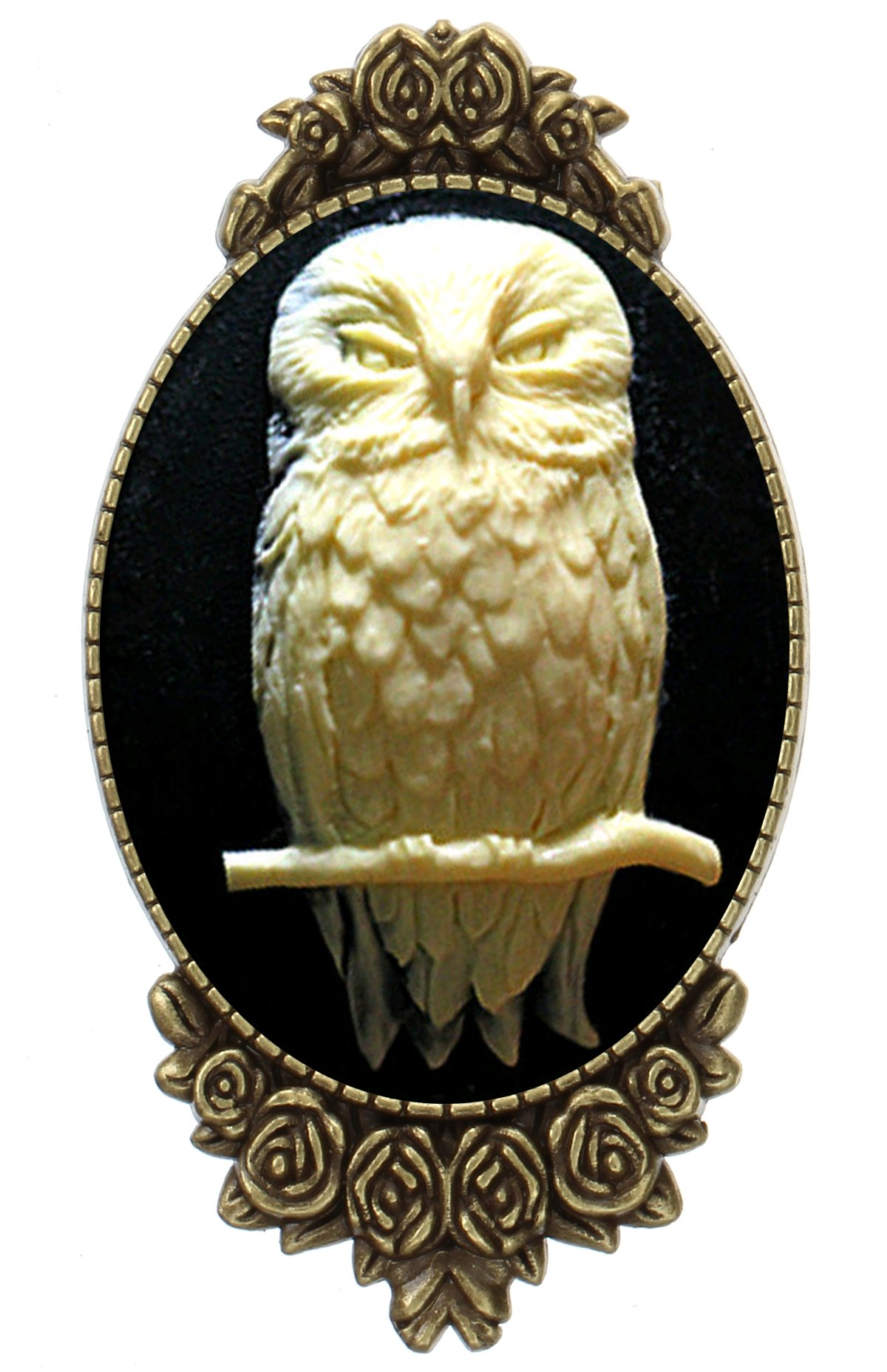 Owl Brooch Pin Rose Decor Antique Brass Animal Fashion Jewelry Pouch for Gift