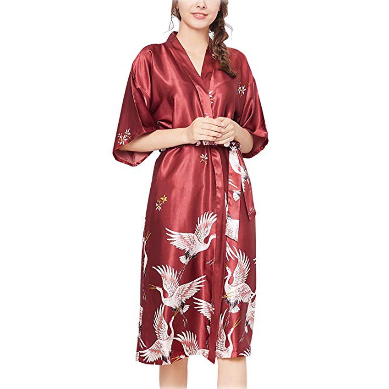 ARBLOVE Kimono Mujer Bata Novia Albornoz Largos de Satén product image