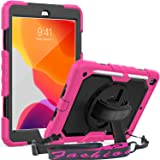 iPad 7th/ 8th Generation (10.2 inch) Case, SEYMAC 3 Layer Shockproof Case with Built-in Screen Protector Pencil Holder 360 De