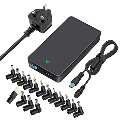 Outtag 90W Slim Universal Laptop Charger 15V-20V Automatic Voltage Power Adapter Supply with UK Plug Cord for Asus HP Dell Toshiba IBM Lenovo Acer Samsung Sony Chromebook for Tablet and Smartphones
