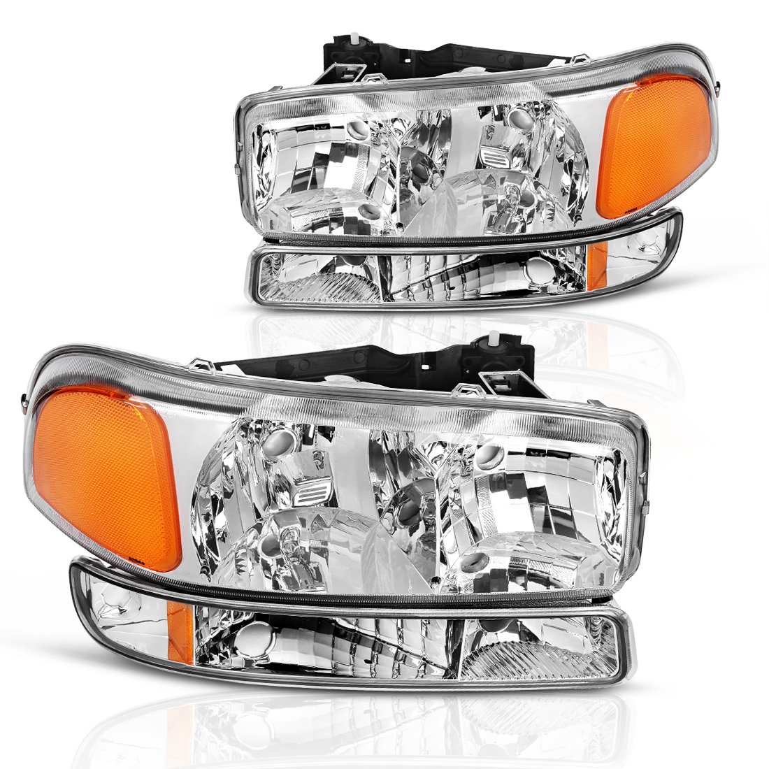 AUTOSAVER88 For 99 00 01 02 03 04 05 06 07 GMC Sierra Headlight Assembly+Park/Signal Lamp,OE Projector Headlamp,Chrome housing,One-Year Limited Warranty(4 pcs,GM2503188&GM2520174)