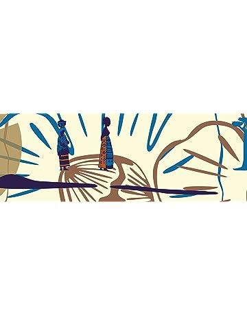 PLAGE Cenefa Adhesiva removible - África Naranja y Marrón, acrílico, marrón, 300 x