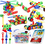 163 Piece STEM Toys Kit, Educational Construction Engineering Building Blocks Learning Set for Ages 3 4 5 6 7 8 9 10 Year Old