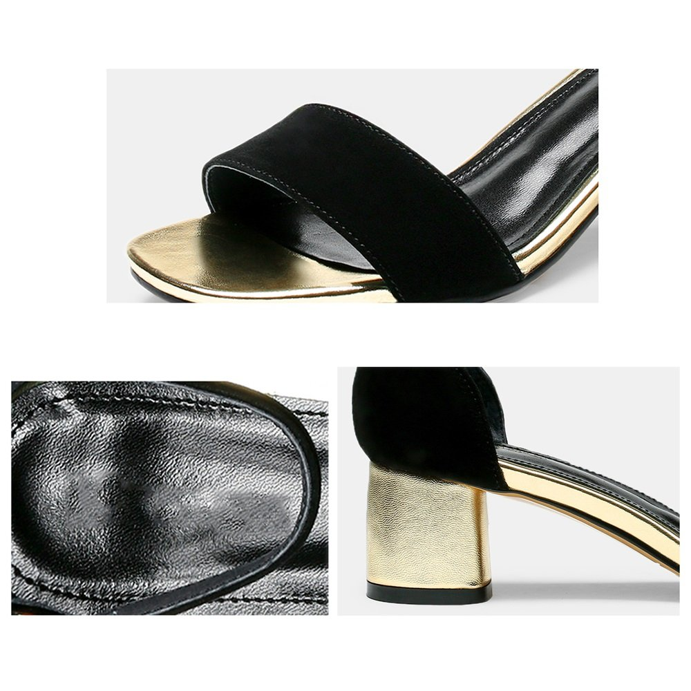 Sandalen GYHDDP Frauen Damen Niedrig \ Mid Heel Sandaletten \ Niedrig Open-Toe hohlen RiemchenSandale \ Sommermode (Farbe : Schwarz, größe : 39) Schwarz f20126