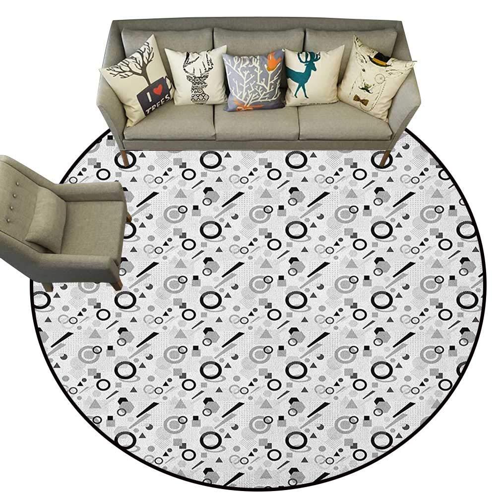 Style10 Diameter 36(inch& xFF09; Geometric,Personalized Floor mats Pastel Toned Abstract Floral Arrangement Feminine Romantic Pattern D54 Floor Mat Entrance Doormat