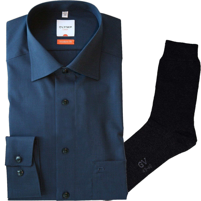 OLYMP Hemd Luxor Modern Fit - nachtblau, langarm, Kent Kragen Kragen Kragen + 1 Paar hochwertige Socken, Bundle B00PB82N7E Business Bequeme Berührung 7dc800