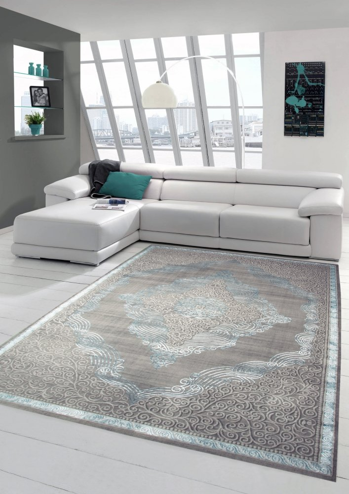 Designer und Moderner Teppich Kurzflor Teppich Orient in Grau Silber Türkis Größe 160x230 cm