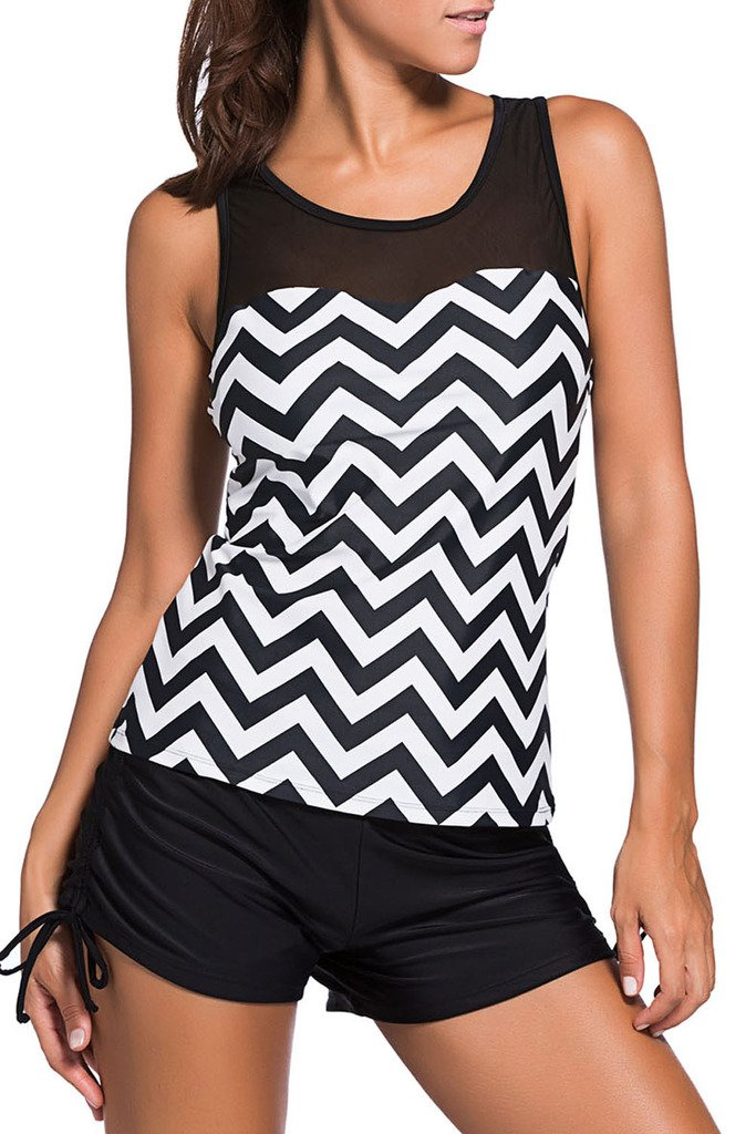 HOTAPEI Swimsuits for Women Two Pieces Tankini Swimsuits Black White Zigzag Print Large