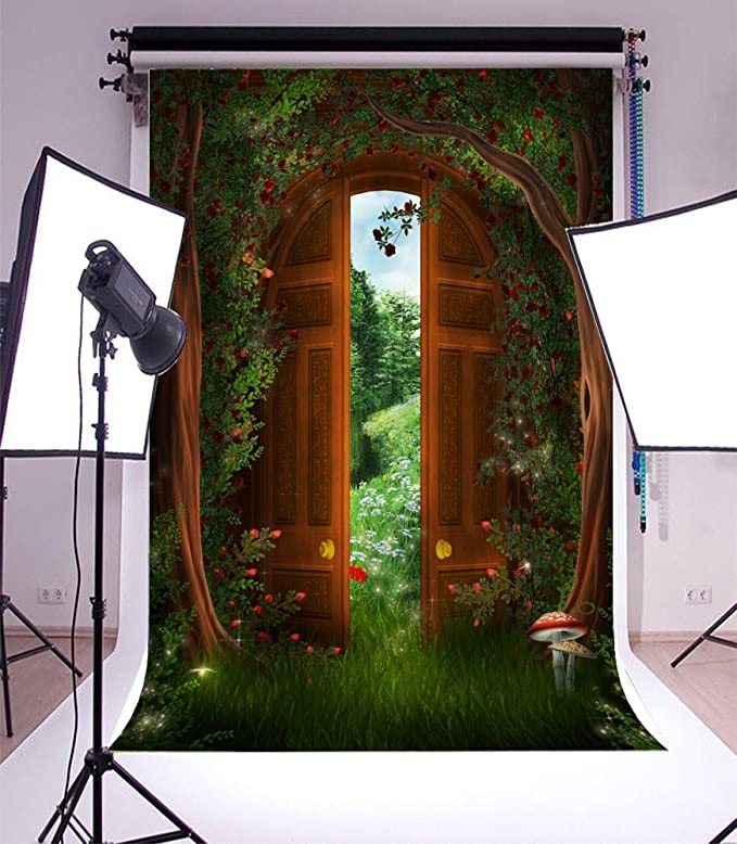 Leowefowa 5x3FT Vinyl Photography Backdrop Safari Animals Mushrooms Wooden Fence Ivy Leaves Birthday Baby Shower Background Event Party Decoration Portrait Photo Shoot Studio Photo Booth Props
