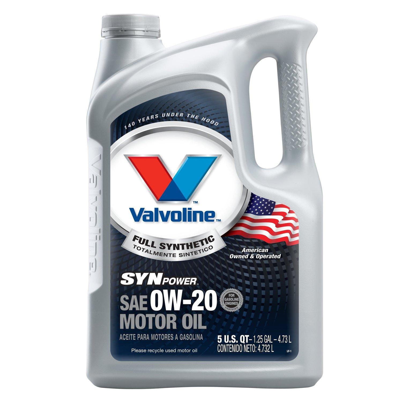 Valvoline 0W-20 SynPower Full Synthetic Motor Oil - 5qt (Case of 3) (813460-3PK) by Valvoline