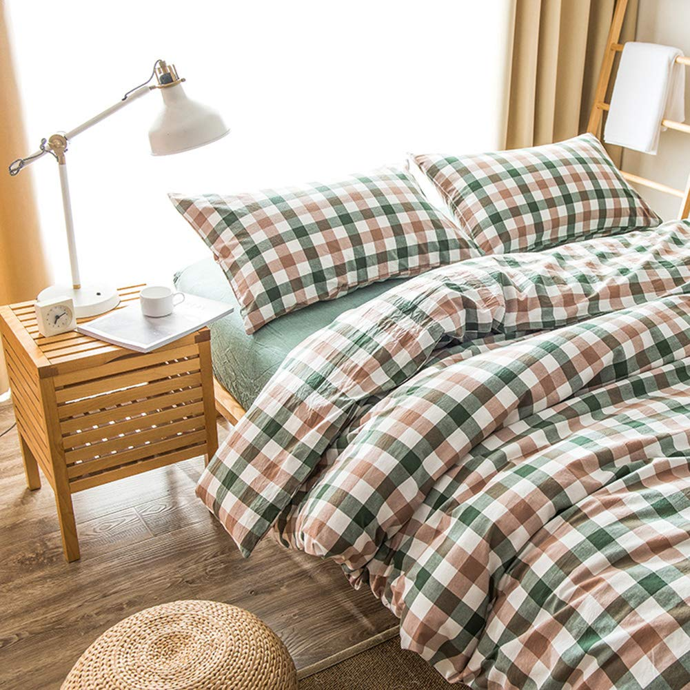 DOUH Washed Cotton Duvet Cover Sets Twin//Twin XL Size Green Duvet Cover 3 Pieces Grid Plaid Bedding Set,Ultra Soft and Easy Care
