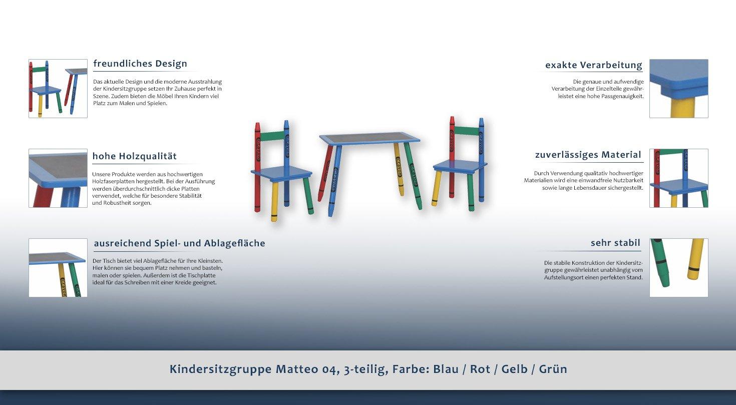 Kindersitzgruppe Matteo 04, 3-teilig, Farbe: Blau / Rot / Gelb ...