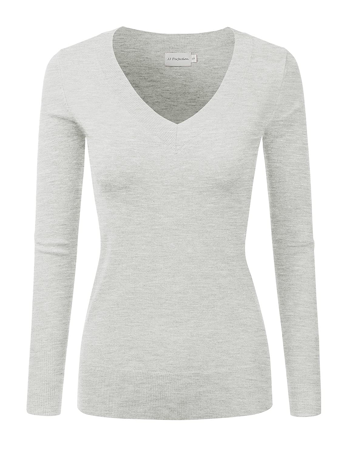 Machine Wash Warm   Do Not Bleach   Tumble Dry Low Women s basic casual  long sleeve sweater top. Features thick v-neck collar and ribbed cuffs hem 18294a3d8