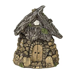 Darice Miniature Enchanted Cottage Gnome Hobbit Fairy (Stone House), Brown, Green, One size