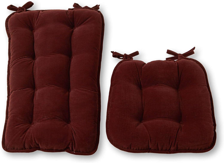 Greendale Home Fashions Cherokee 2-Piece Jumbo Rocking Chair Cushion Set, Sangria