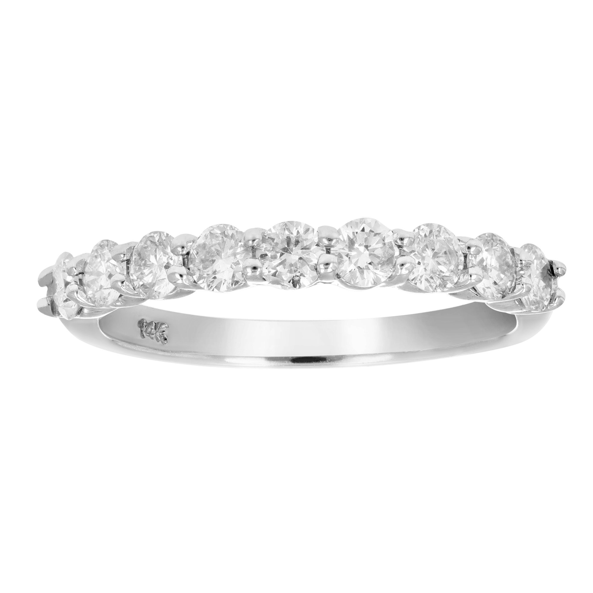 3/4 CT AGS Certified I1-I2 Diamond Wedding Band in 14K White Gold Size 7