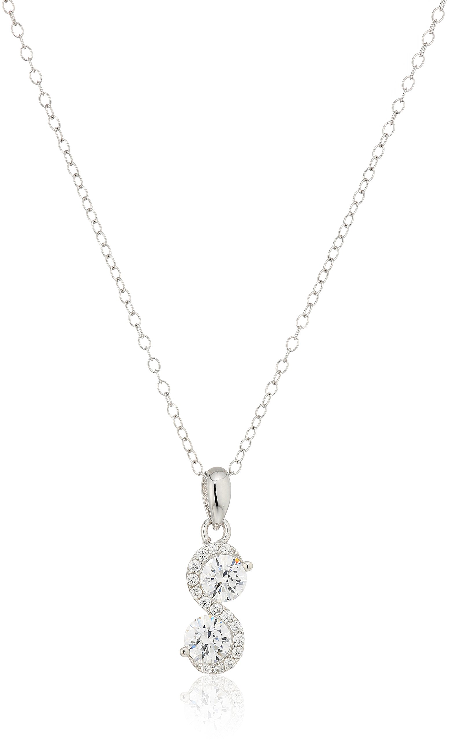 925 Sterling Silver Swarovski Zirconia Two Stone Infinity Drop Pendant Enhancers, 18'' (1 cttw)
