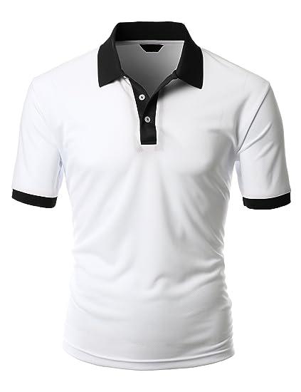 7a12b0108a7 Men s 2 tone coolon fabric polo collar short sleeve Shirt WHITEBLACK size XS