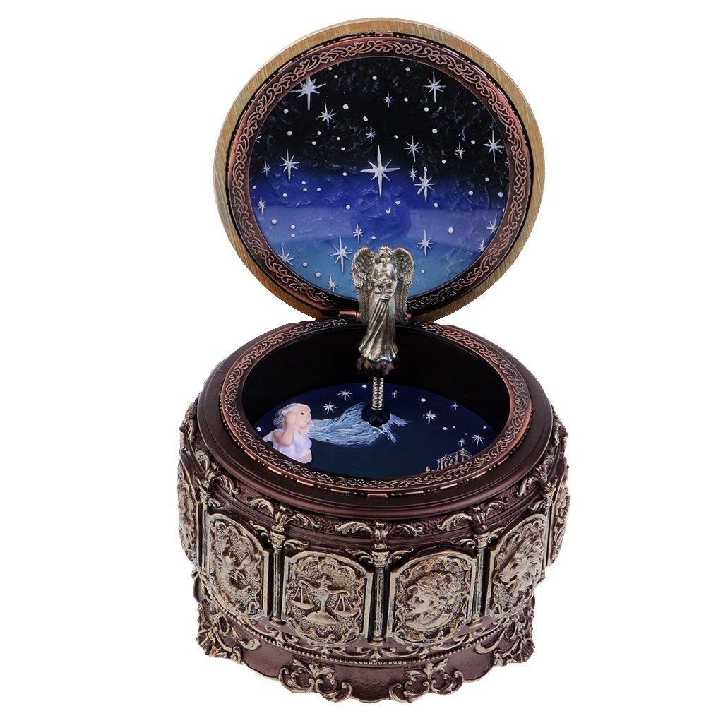Baoblaze Boîte à Musique Lumières LED Mécanisme Mouvement Musical Style Ancienne - # 1