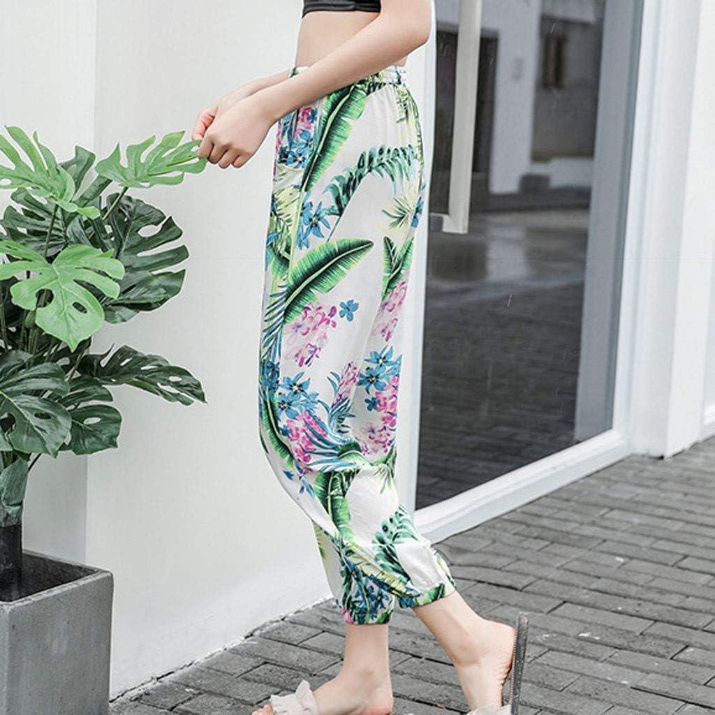 MoonHome Womens Floral Print Boho Yoga Pants Harem Pants Jogger Pants Hippie Boho PJs Lounge Beach Print Plus