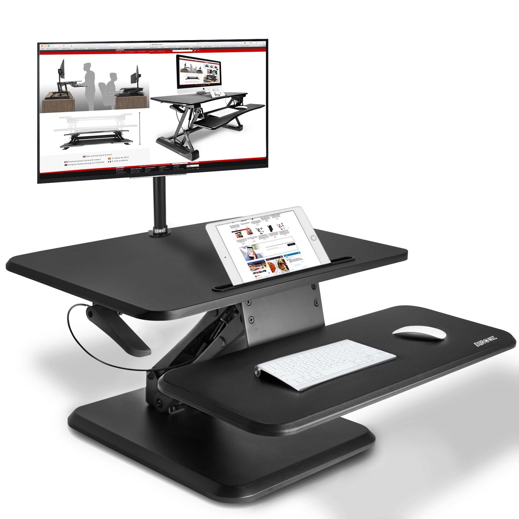 Duronic DM05D12 Estación de Trabajo para Monitor, Mesa Ordenador para Trabajar de Pie y Sentado