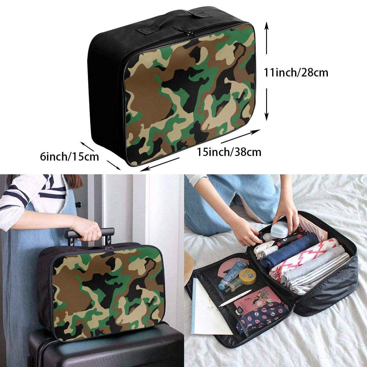 STWINW Military Camo Travel Fashion Lightweight Large Capacity Portable Waterproof Foldable Storage Carry Luggage Bag Luggage Duffle Tote Bag Hanging Travel Toiletry Bag Travel Makeup Bag