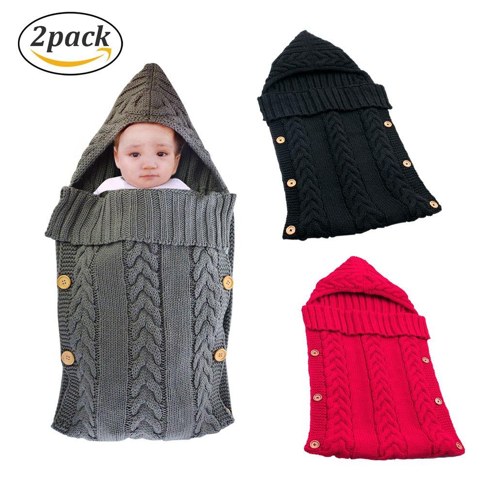 Swaddle Blanket Wrap for Baby Crochet Knitted Newborn Infant Sleep Bag Sack Swaddling Blanket for 0-12 Months Baby Shower Gift (Black&Red)