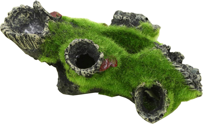Screst Decoraci/ón del Acuario Roca De La Cueva con La Hierba Verde De Camar/ón Pescado De Ocultaci/ón del Ornamento del Acuario