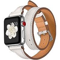 Correa de Reloj Compatible con Apple Watch 4 44mm-Becoler Accesorio de Cuero Pulsera de reemplazo de Pulsera de Doble Recorrido para Apple Watch 4 44mm