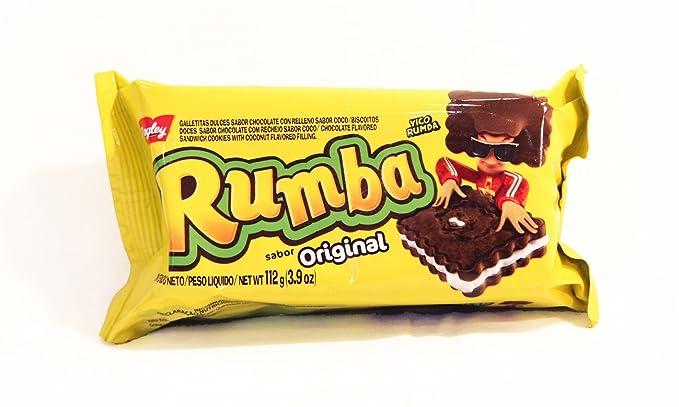 Galletitas RUMBA de BAGLEY. Galletitas Dulces rellenas sabor a Chocolate con relleno sabor coco.