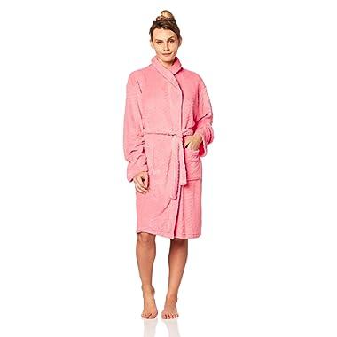 Seven Apparel Hotel Spa Collection Herringbone Textured Plush Robe, Dark Coral Pink