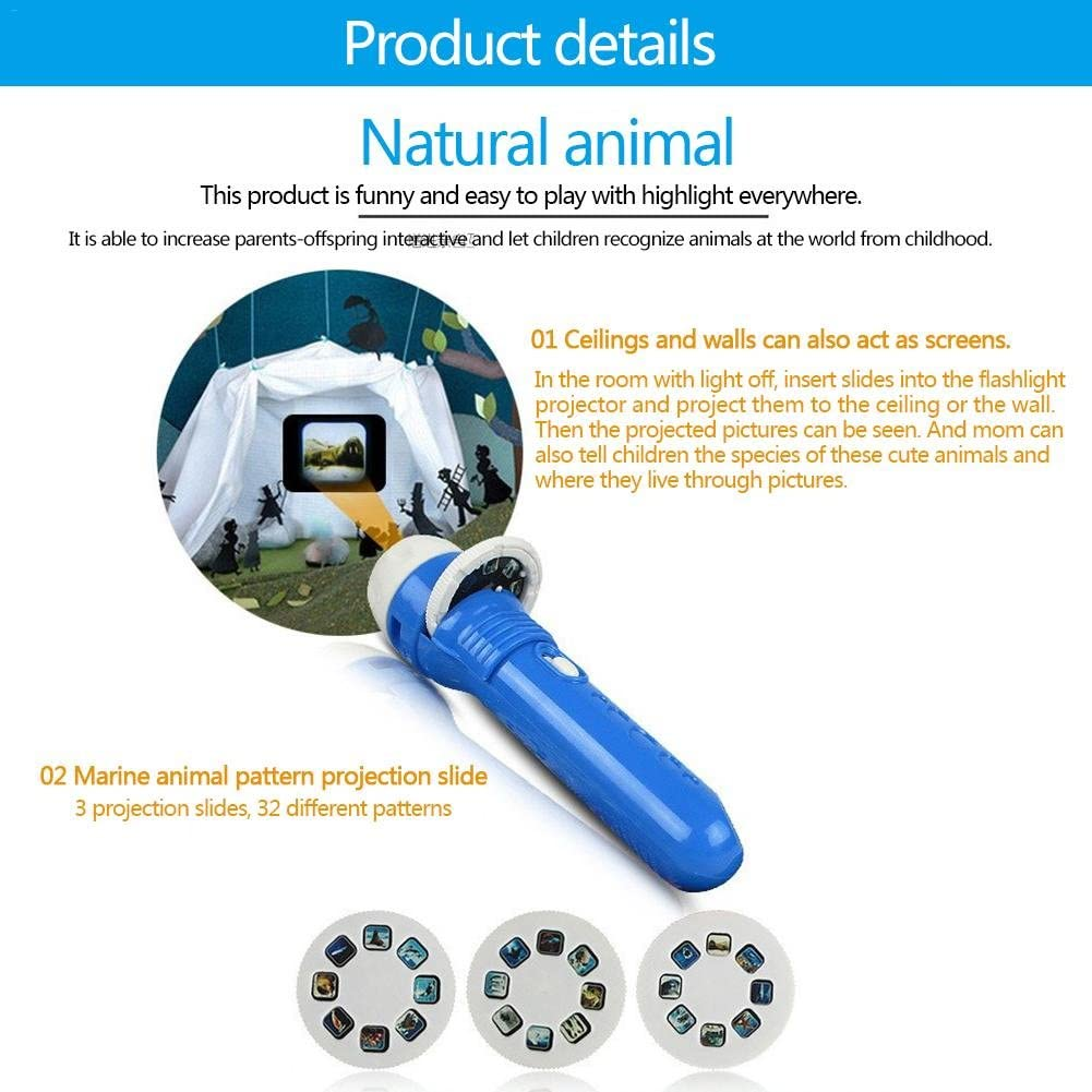 CokeymoveProjector Toy Flashlight Baby Sleep Bedding Story Toy,Animal Slide Show,Portable Projector Night Light Torch Toys for KidS