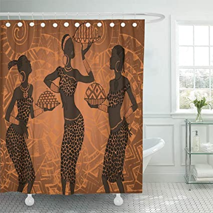 Emvency Decorative Shower Curtain Orange Traditional Beautiful Black Woman African Red Africa Dress Tribal Native Meat