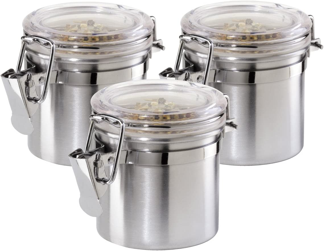 Amazon Com Oggi 3 Piece Mini Stainless Steel Canister Set With Clear Arylic Lid And Locking Clamp Kitchen Dining