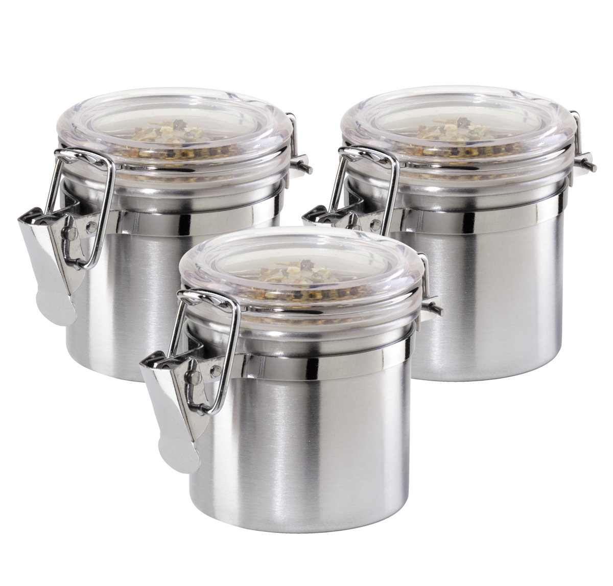 amazon com oggi 3 piece mini stainless steel canister set with amazon com oggi 3 piece mini stainless steel canister set with clear arylic lid and locking clamp food savers kitchen dining